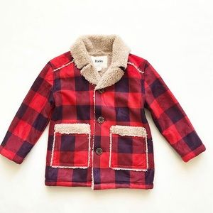 Hatley blue/red plaid sherpa lined jacket EUC 4T